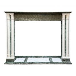 Antique French Fireplace Mantel in Verdi Antico and Statuary Marble