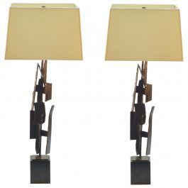 Pair of Table Lamps by Artist Harry Balmer in Oxidized Steel