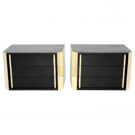 Pair of Italian Night Stands Black Tinted Wood and Brass, 1970s
