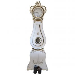 White Mora Clock Swedish Early 1800s Antique Gold Carved Crown