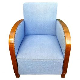 Swedish Art Deco Antique Armchair Early 20th C Golden Birch Bentwood Arms Blue