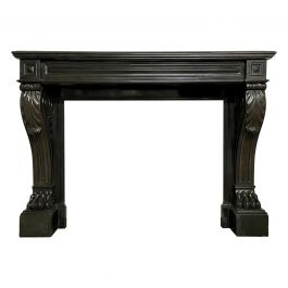 Large French Empire Black Marble Fireplace Mantel