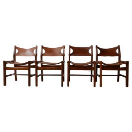Set of Four Mid-Century Leather Dining Chairs in manner of Sergio Rodrigues