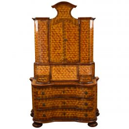 Late 19th Century Germany Walnut and Parquetry Secretary Bookcase