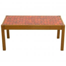French Oak Wood and Red Ceramic Coffee Table, 1960s