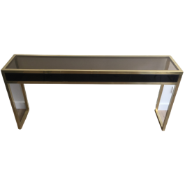 Rare Large Brass Console With Black Lacquered Top