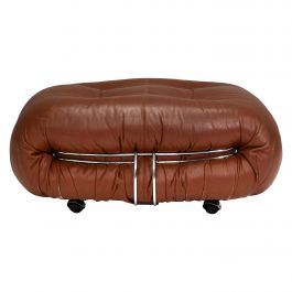 Soriana Pouf in Original Tan Leather by Tobia Scarpa for Cassina, Italy, 1970