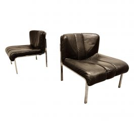 Vintage Leather and Chrome Eurochair Lounge Chairs by Girsberger, 1970s
