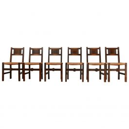 Set of Six French Mid-Century Dining Chairs in manner of Charles Dudouyt