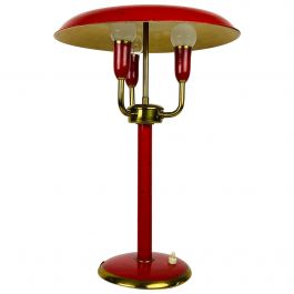 Rare Red Italian Table Lamp with 3 Arms in the Style of Stilnovo, 1960s, Italy