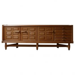 French Guillerme et Chambron Oak and Ceramic Mid-Century Credenza/Sideboard