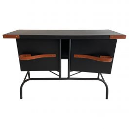 Jacques Adnet Console, Credenza with Pivoting Drawers Hermes Signed Brevilly