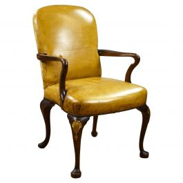 1920s Mahogany Leather Elbow Chair