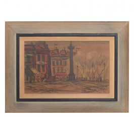 Midcentury European Watercolor Landscape Post Impressionist Art Cerused Oak