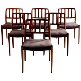 Moller Model 83 Rosewood Dining Chairs Set of Six, Denmark, 1970