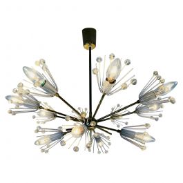 Glass and Brass 'Snowflake' Chandelier by Emil Stejnar for Rupert Nikoll, 1960s