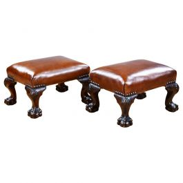 Pair of Antique Walnut Claw and Ball Footstools