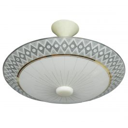 Mid Century Light Patterned Glass Pendant Chandelier French, c1950