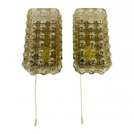 Pair of Midcentury Bubble Glass Wall Lamps by Helena Tynell for Limburg, 1960s