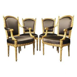 Important Set of Four 18th Century Louis XVI Giltwood Chairs with Stamp