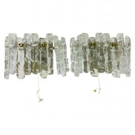 Pair of Frosted Ice Glass Wall Lamps by Kalmar, Austria, 1960s