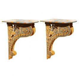 Italian 18th Century Louis XVI Carved and Lacquer Wall Mounted Console Tables