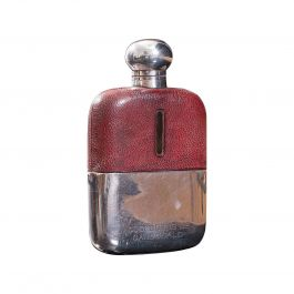 Antique Hip Flask, English, Leather, Glass, Silver Plate, Celebration Gift, 1920