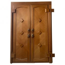 Architectural Mid-Century French Guillerme et Chambron Door Façade in Oak