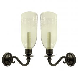 Pair of Regency Style Wall Sconces with Storm Shades
