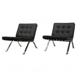 Set Hans Eichenberger Leather and Stainless Steel Lounge Chairs for Girsberger S