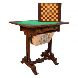 Antique Fold Over Games Table, English, Rosewood, Chess, Cards, Regency, C.1820
