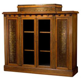 George Bullock Breakfront Rosewood and Brass Inlaid Side Cabinet