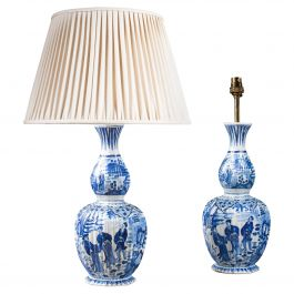 Pair of Dutch Delft Knobble Vases as Table Lamps
