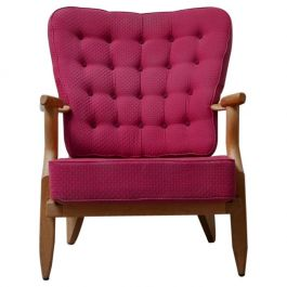 Guillerme et Chambron Mid-Repos French Mid-Century Oak Armchair