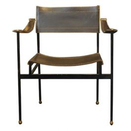 Jacques Adnet Leather Armchair, Circa 1950