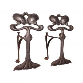 Pair of Antique Andirons, French, Iron, Fire Dogs, Tool Rest, Art Nouveau, 1900
