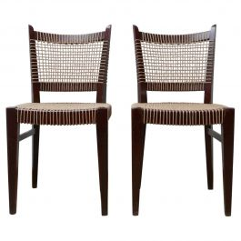 Pair of Corded Art Deco French Occasional Chairs