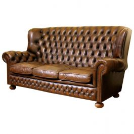 Vintage Chesterfield Sofa Brown Leather High Back Three Seats and Button Tufted