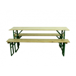 Customised Length Vintage German Beer Table And Benches In Natural Pine Finish