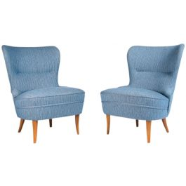 Pair of Mid Century Lounge Chairs in Blue Wool & Oak, Swedish 1950's