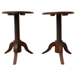 Pair of Mid-Century Demi-Lune Side Tables in Manner of Charles Dudouyt