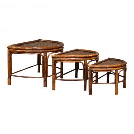 Antique Set Of Nesting Tables, Oriental, Bamboo, Occasional, Side, Edwardian