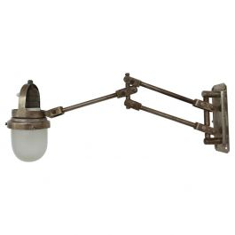 Industrial Adjustable Metal and Glass French Wall Light