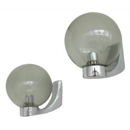 Pair of Dutch Mid-Century Chrome and Glass Wall Lights