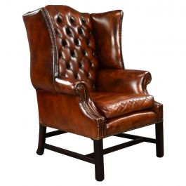 George II Style Brown Leather Wing back Armchair