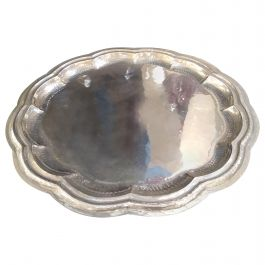 Round Silver Plate Tray by Cassetti, Italy, 1960s