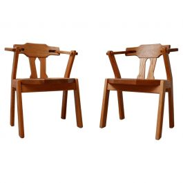Pair of Oak Brutalist Mid-Century Dining Chairs '2'