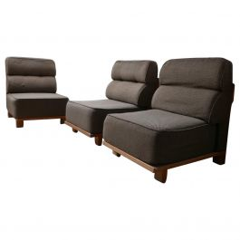 Guillerme et Chambron Mid-Century Oak Slipper Lounge Chairs or Sofa '3 pieces'
