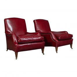 Pair of Bespoke Leather, Club Armchairs, 'The Dutchman', Chairs by London Fine