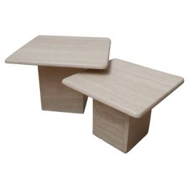 Travertine Mid-Century Side Tables or Nest of Tables '2'